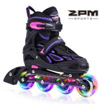 2PM SPORTS Vinal Girls Adjustable Inline Skates with Light up Wheels Beginner Skates Fun Illuminating Roller Skates for Kids Boys and Ladies…
