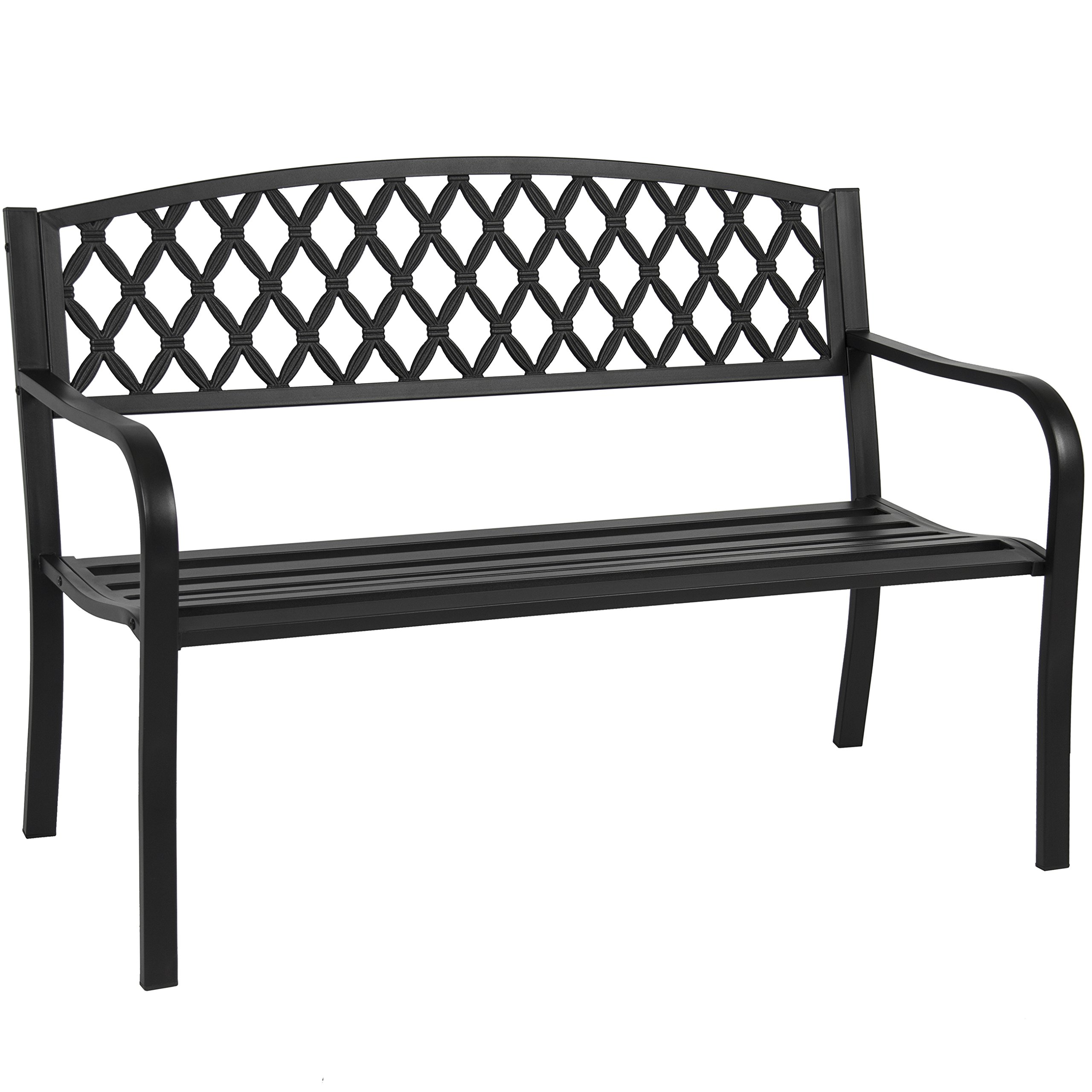 Best Choice Products 50in Steel Outdoor Patio Garden Park Bench Porch Chair Yard Furniture w/Cross Design - Black