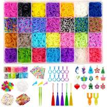 Happytime Rainbow Rubber Bands Girls Toys 10 in 1 Super 11700+ pcs Rainbow Rubber Bands DIY Bracelet Making Crafting Craft Art Bracelets Hair Hand Accessories Toys Set for 3, 4, 5, 6, 7 ,8 Year Old