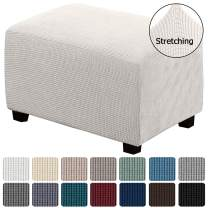 Stretch Ottoman Slipcover Folding Storage Stool Furniture Protector for Living Room Soft Rectangle Slipcover with Elastic Bottom High Stretch Durable Spandex Fabric, Ottoman X-Large, Ivory