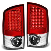 Replacement for Dodge Ram Pickup 3rd Gen Pair of Chrome Housing Red Lens LED Brake Tail Lights