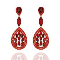 SP SOPHIA COLLECTION Women's Vintage Statement Austrian Crystal Teardrop Halo Drop Post Earrings