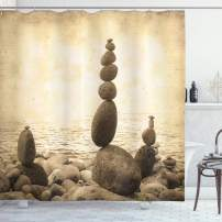 "Ambesonne Ocean Shower Curtain, Coastal Shore Calm Water Print Sepia Big and Small Rocks Pebbles Grunge, Cloth Fabric Bathroom Decor Set with Hooks, 70"" Long, Beige Brown"