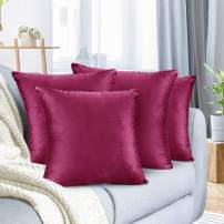 "Nestl Bedding Throw Pillow Cover 24"" x 24"" Soft Square Decorative Throw Pillow Covers Cozy Velvet Cushion Case for Sofa Couch Bedroom, Set of 4, Magenta"