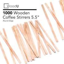 Coffee Stir Sticks Round End, Eco Friendly Coffee Stirrers Dark Wood for Hot Drinks (5.5 inches)
