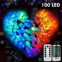 Battery Operated Fairy Lights with Remote&Timer - 33Ft 100LED Christmas Lights Set,Waterproof 8 Modes Outdoor String Lights for Christmas Wedding Party Garden Bedroom Stair DIY Decor (Multicolor)