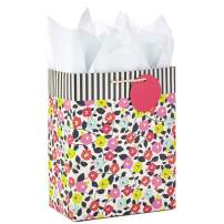 """Hallmark 9"""" Medium Gift Bag with Tissue Paper (Flowers and Stripes) for Birthdays, Mother's Day, Baby Showers, Bridal Showers, Weddings or Any Occasion"""