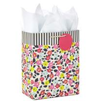 "Hallmark 9"" Medium Gift Bag with Tissue Paper (Flowers and Stripes) for Birthdays, Mother's Day, Baby Showers, Bridal Showers, Weddings or Any Occasion"