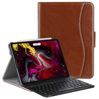 ZtotopCase Keyboard for iPad Pro 11'' 2018, Detachable Wireless Keyboard Stand Folio Cover with Auto Wake/Sleep (Support 2nd Gen iPad Pencil Charging), Protection for iPad Pro 11'' 2018,Brown