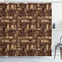 """Ambesonne Coffee Shower Curtain, Cafeteria Pattern with Hot Mocha Latte Milk Love Typography on Scribble Backdrop, Cloth Fabric Bathroom Decor Set with Hooks, 70"""" Long, Beige Brown"""