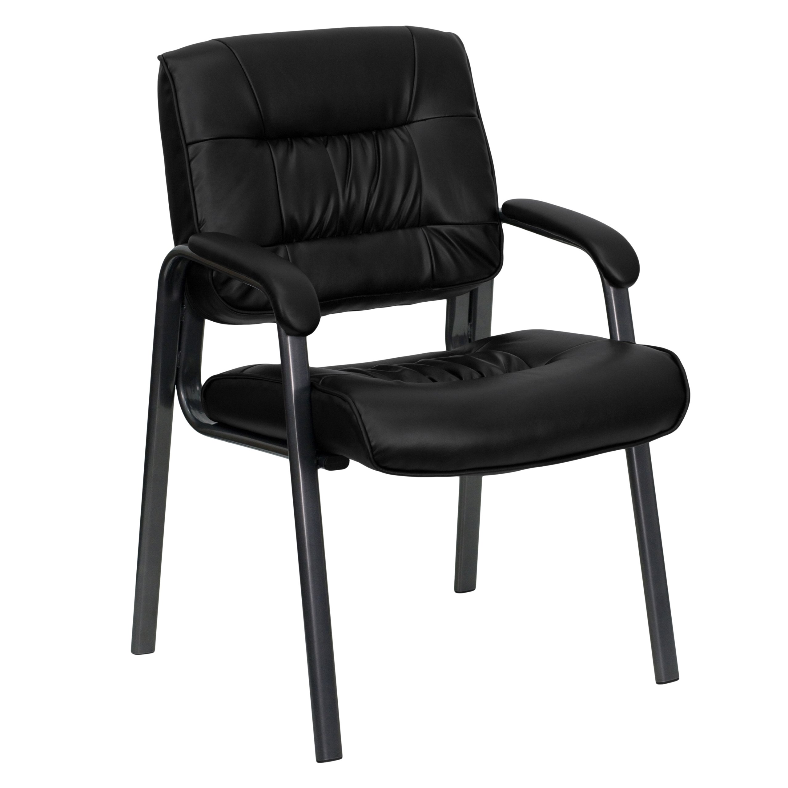 Flash Furniture Black LeatherSoft Executive Side Reception Chair with Titanium Gray Powder Coated Frame