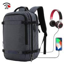 MIER Travel Backpack 17 Inches Laptop Carry On Daypack with USB Charging Port, Dark Blue