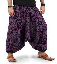 Kiara Men Women Cotton Baggy Hippie Boho Gypsy Aladdin Yoga Harem Pants with Pockets - Spiral Pants