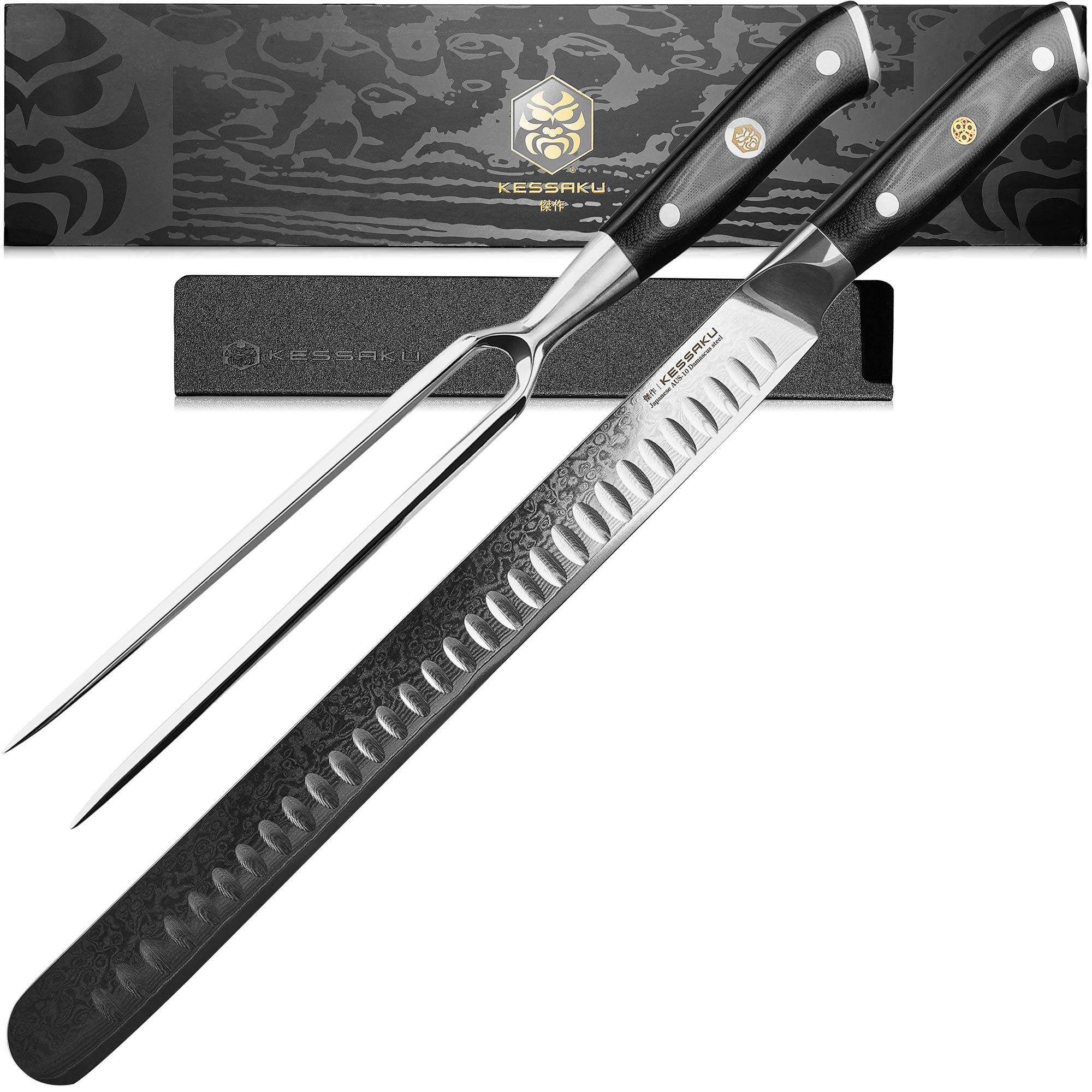Kessaku 12-Inch Carving Slicing Knife & 7-Inch Meat Fork Set - Dynasty Series - 67-Layer AUS-10V Japanese Damascus Steel - Granton Edge - G10 Full Tang Handle