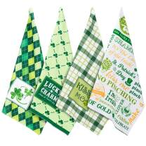 """Whaline 4 Pack Towels Set, Shamrock Clover Green Plaid Kitchen Hand Dish Towels, St Patrick's Day Dish Towels for Gift-Irish, Holiday, Home Decor (18'' x 28"""")"""