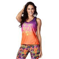 Zumba Fitness Bubble Hem Workout Tank Dance Graphic Print Sexy Tops Women