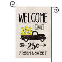 AVOIN Welcome Truck Lemon Garden Flag Vertical Double Sided, Arrow Fresh Sweet Summer Flag Yard Outdoor Decoration 12.5 x 18 Inch