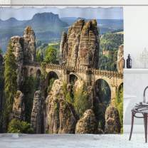 """Ambesonne Medieval Shower Curtain, Famous Historical Bastion Bridge in Swiss Germany Middle Age Culture Heritage Art, Cloth Fabric Bathroom Decor Set with Hooks, 75"""" Long, Grey Green"""