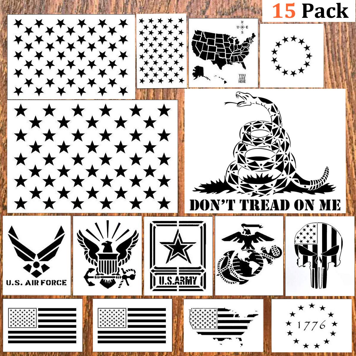 DmHirmg 15pcs American Flag Stencil Plastic Stencil Template(Map Flag Marine Corps Army Air Force) for Planner/Notebook/Diary/Scrapbook/Graffiti/Card, DIY Drawing Painting Craft Projects(15 Pack)