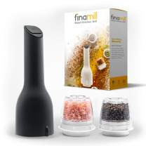 FinaMill Electric Grinder – Grind Pepper, Salt and More. Store Each Dried Spice In Separate Interchangeable Pod, Swap With One Hand. Uses 3 AA Batteries, NOT Included. 1 Mill 2 Pods Included - Gray