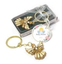 Keychain - Beautiful Gold Angel Wedding, Baptism Favors.(Customize TAG) Gifts for Guests (Baby Shower, Set of 1)