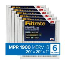 Filtrete MPR 1900 20x20x1 AC Furnace Air Filter, Healthy Living Ultimate Allergen, 6-Pack