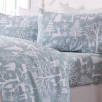 Great Bay Home Extra Soft Enchanted Woods 100% Turkish Cotton Flannel Sheet Set. Warm, Cozy, Luxury Winter Bed Sheets. Belle Collection (Full, Blue)