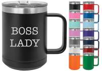 Boss Lady - Losta Laughs Funny 15oz Powder Coated Mug with Lid (Light Purple)
