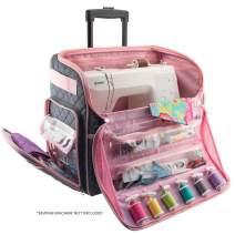 Everything Mary Deluxe Quilted Pink and Grey Rolling Sewing Machine Tote - Sewing Machine Case Fits Most Brother & Singer Sewing Machines, Sewing Bag with Wheels & Handle - Portable Sewing Case