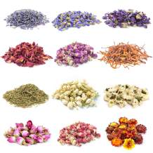Gibot 12 Pack 15g Natural Dried Flowers Herbs Kit for Candle Resin Jewelry Soap Bath Bombs Making Include Rose Petals,Lavender,Jasmine,Forget-me-not,Lily and More(with Sealing Clip)