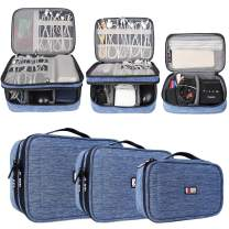 BUBM 3Pcs Universal Travel Cable Organizer Electronics Accessories Carry Bag for Cables, Cord, USB Flash Drive, Battery and More,Denim Blue