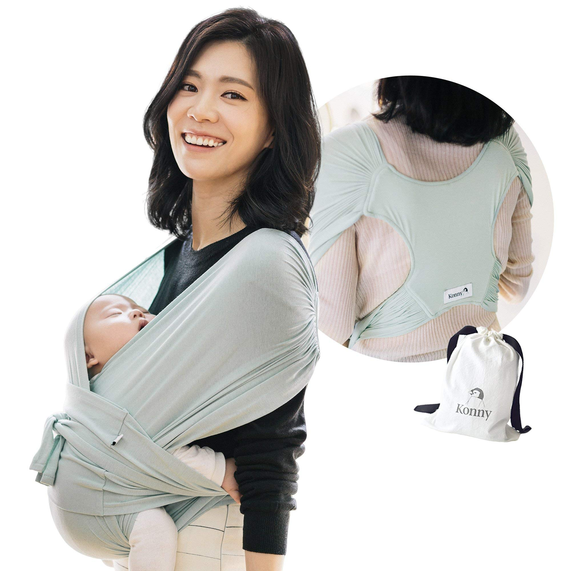 Konny Baby Carrier | Ultra-Lightweight, Hassle-Free Baby Wrap Sling | Newborns, Infants to 44 lbs Toddlers | Soft and Breathable Fabric | Sensible Sleep Solution (Mint, S)