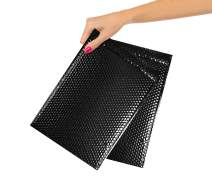 250 Pack Metallic Bubble mailers 6.5 x 10.5 DVD size Black padded envelopes. 6 1/2 x 10 1/2. Glamour bubble mailers Peel and Seal. Padded mailing envelopes for shipping, packing, packaging.