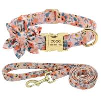 Beirui Custom Flower Girl Dog Collar and Leash Set for Female Dogs- Floral Pattern Engraved Pet Collars with Personalized Gold Buckle(Orange Pattern , XS)