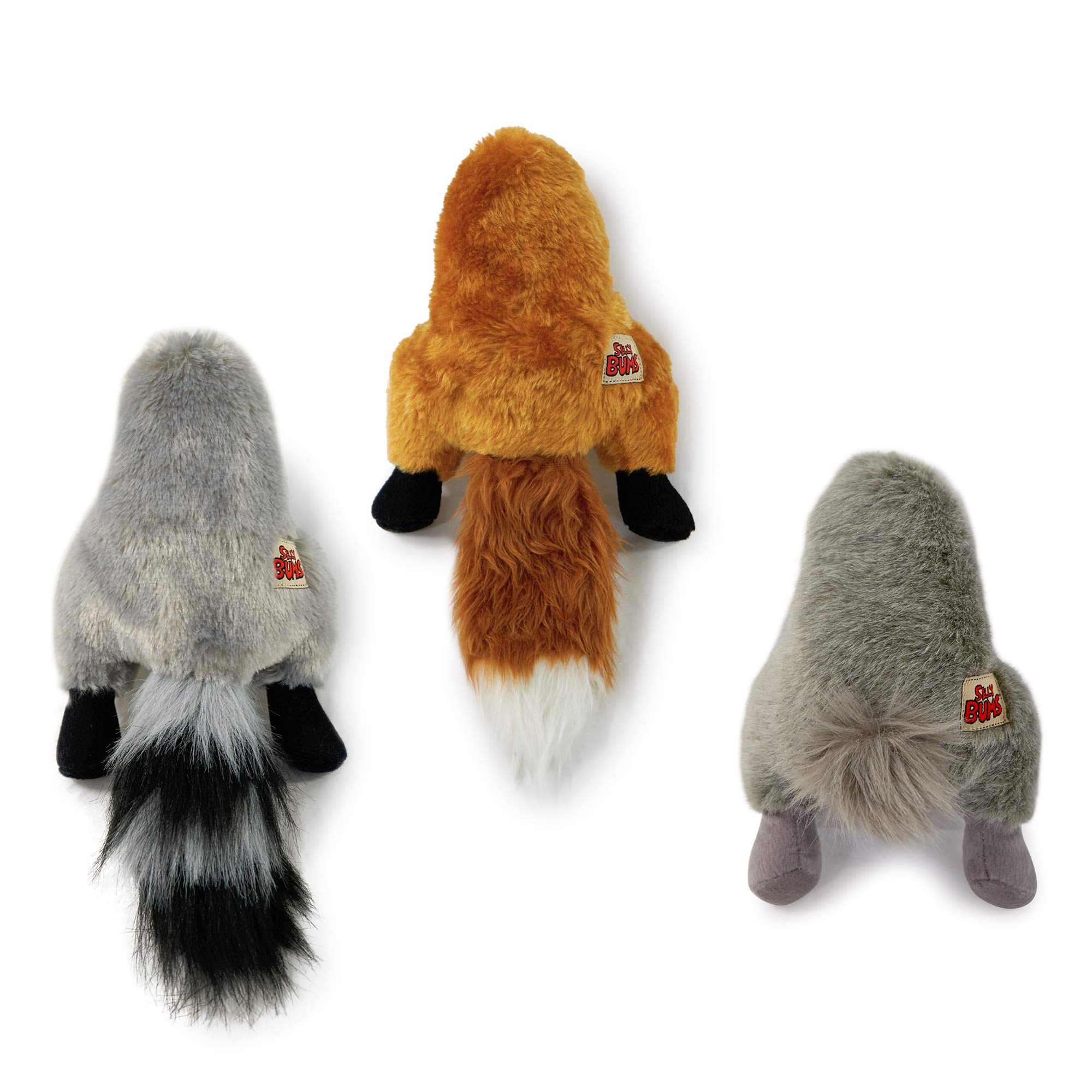 Pet Craft Supply Co. Funny Bums Animals Assortment Soft Plush Stuffed Crinkle Squeaking Cozy Cuddling Dog Toys