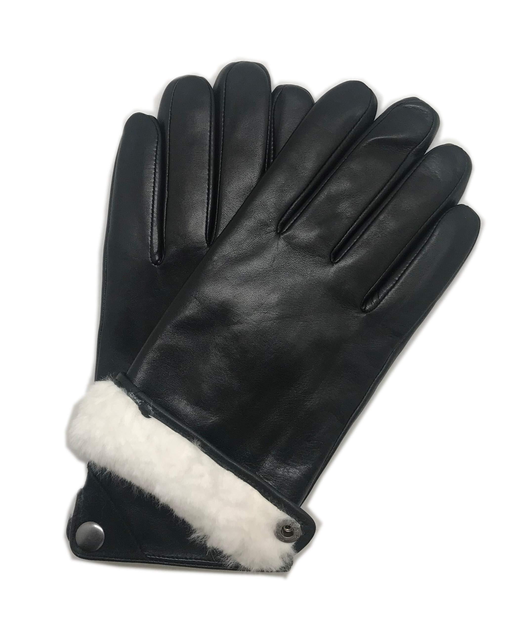 YISEVEN Men's Winter Touchscreen Sheepskin Drees Leather Gloves Handsewn
