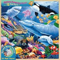MasterPieces Real Wood Tray Jigsaw Puzzle Undersea Friends, Mom's & Preferred Choice Awards, STEM Product, 48 Pieces, For Ages 4+