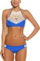 ADOME Womens Two Piece Bikini Halter Swimsuit Sexy Bathing Suit