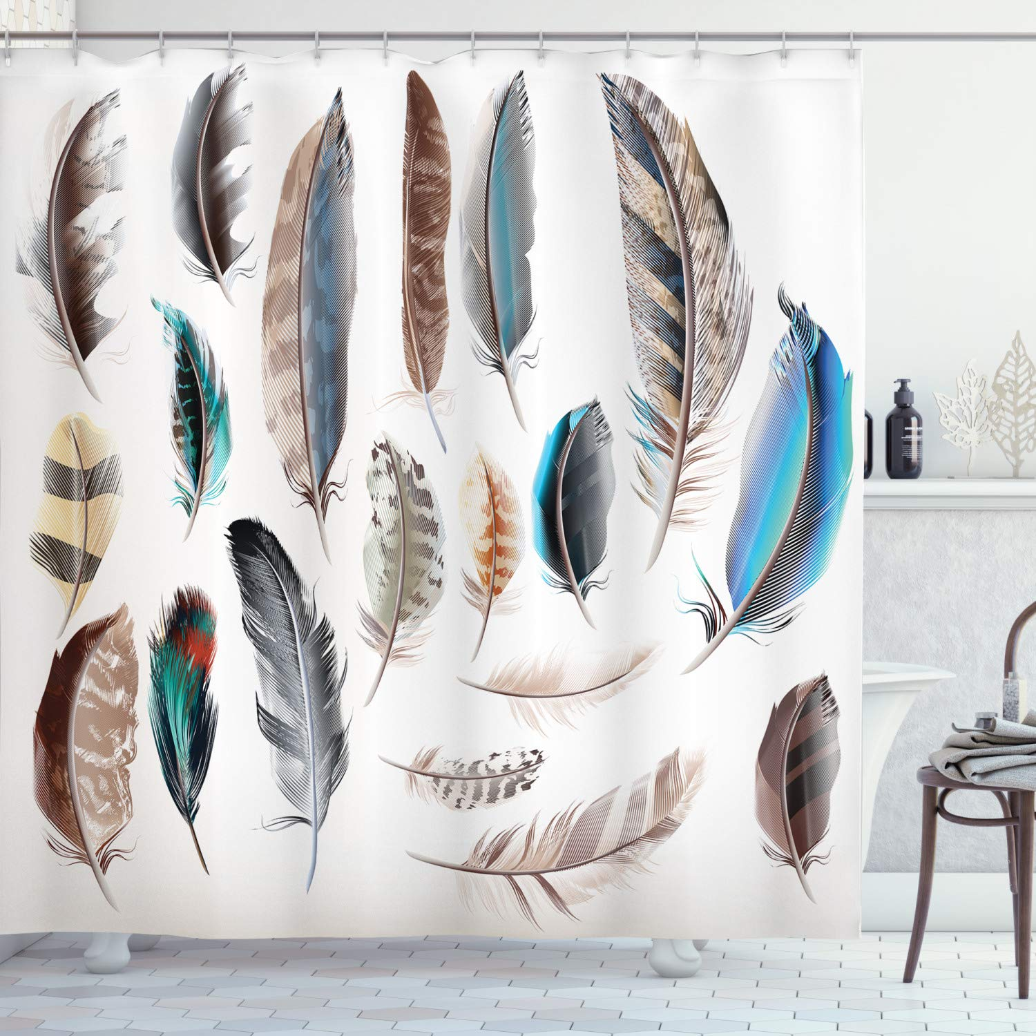 """Ambesonne Feathers Shower Curtain, Western Feather Setting Pigmented Bird Body Parts Growth Nature Design, Cloth Fabric Bathroom Decor Set with Hooks, 75"""" Long, White Brown"""