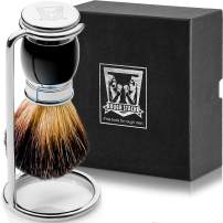 Shaving Brush Set - Professional Shaving Brush with 100% Pure Badger Bristles -Black Resin Handle - Solid Chrome Shaving Brush Stand for Wet Shave - Safety Razor