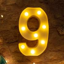 Brightown Decorative LED Marquee Light Up Number Letters Sign Night Light Party Wedding Birthday Party Christmas Lamp Home Bar Decor Battery Operated (9)