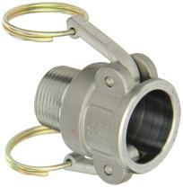 "PT Coupling Basic Standard Series Carbon Steel Cam and Groove Hose Fitting, B-Coupler, 1"" Coupler x NPT Male"