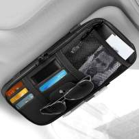 Car Sun Visor Organizer, Auto Interior Accessories Pocket Organizer Storage Pouch Holder for Car Truck SUV with Multi-Pocket Net Zipper Case Bag for Card License Registration Document Pen Key, Black