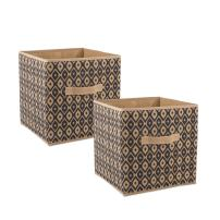 """DII CAMZ36991  Fabric Storage Bins for Nursery, Offices, & Home Organization, Containers Are Made To Fit Standard Cube Organizers (11x11x11"""") Ikat Black - Set of 2"""