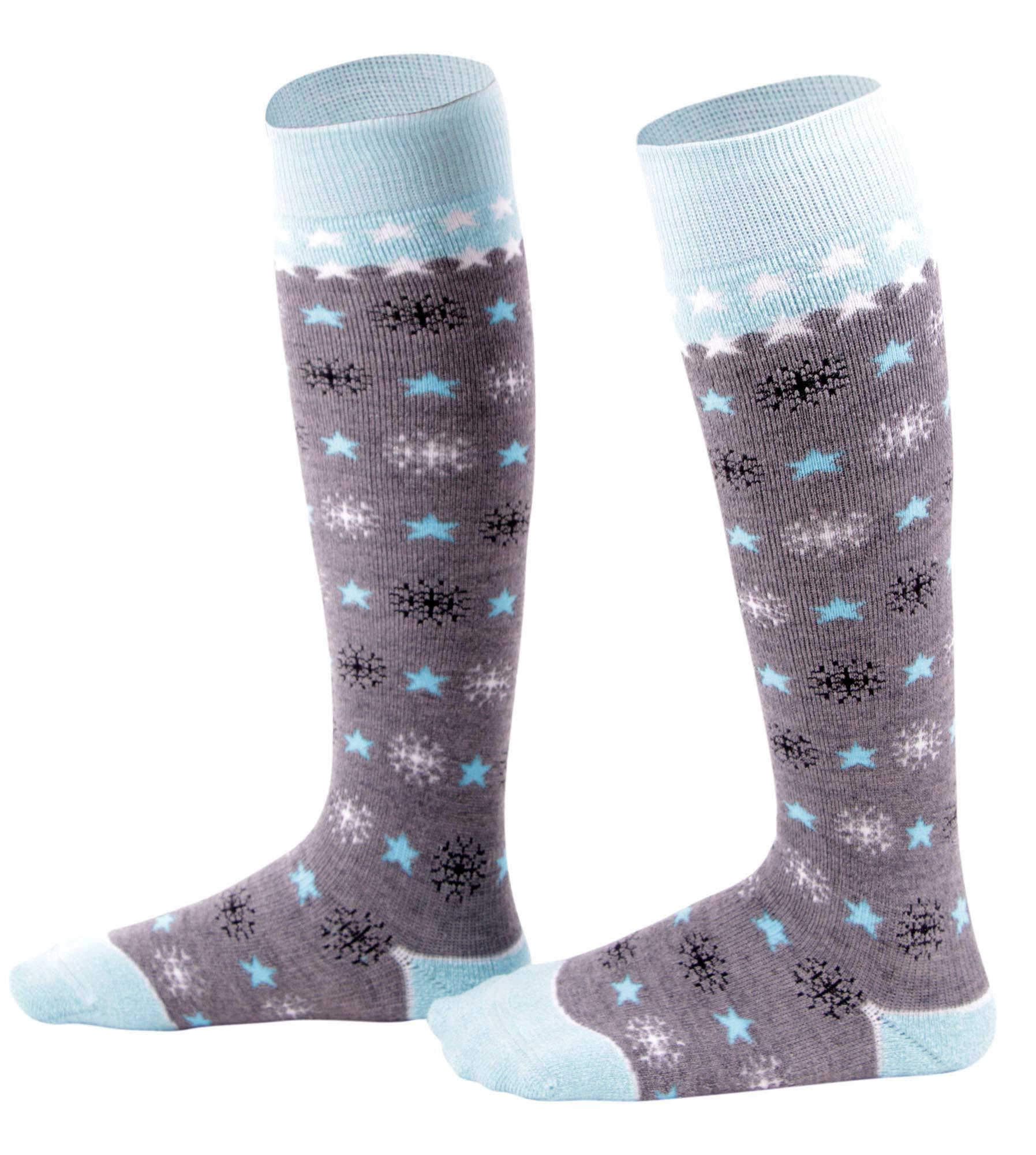 Kids Ski Socks Full Terry Lightweight Warm Merino Wool Skiing Socks