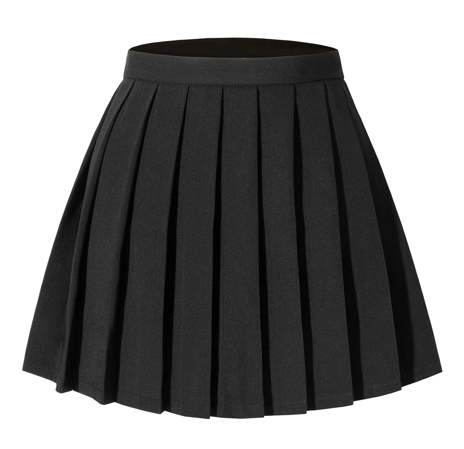 Tremour Women's Japan High Waisted Pleated Cosplay Costumes Skirts Solid Mini Skirt
