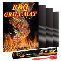 UUSHER BBQ Grill Mats, Oven Liners for Bottom of Gas Oven 4 Pack(15.75 x 13 Inch), Oil Brushes Included