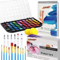 Watercolor Paint Set, 48 Color Watercolor with 10 PCS Nylon Brushes,6 PCS Refillable Water Brush Pen, 10 Page Pad(A4) and 2 PCS Art Sponges. Watercolor Paint Set for Adults,Children and Beginners.