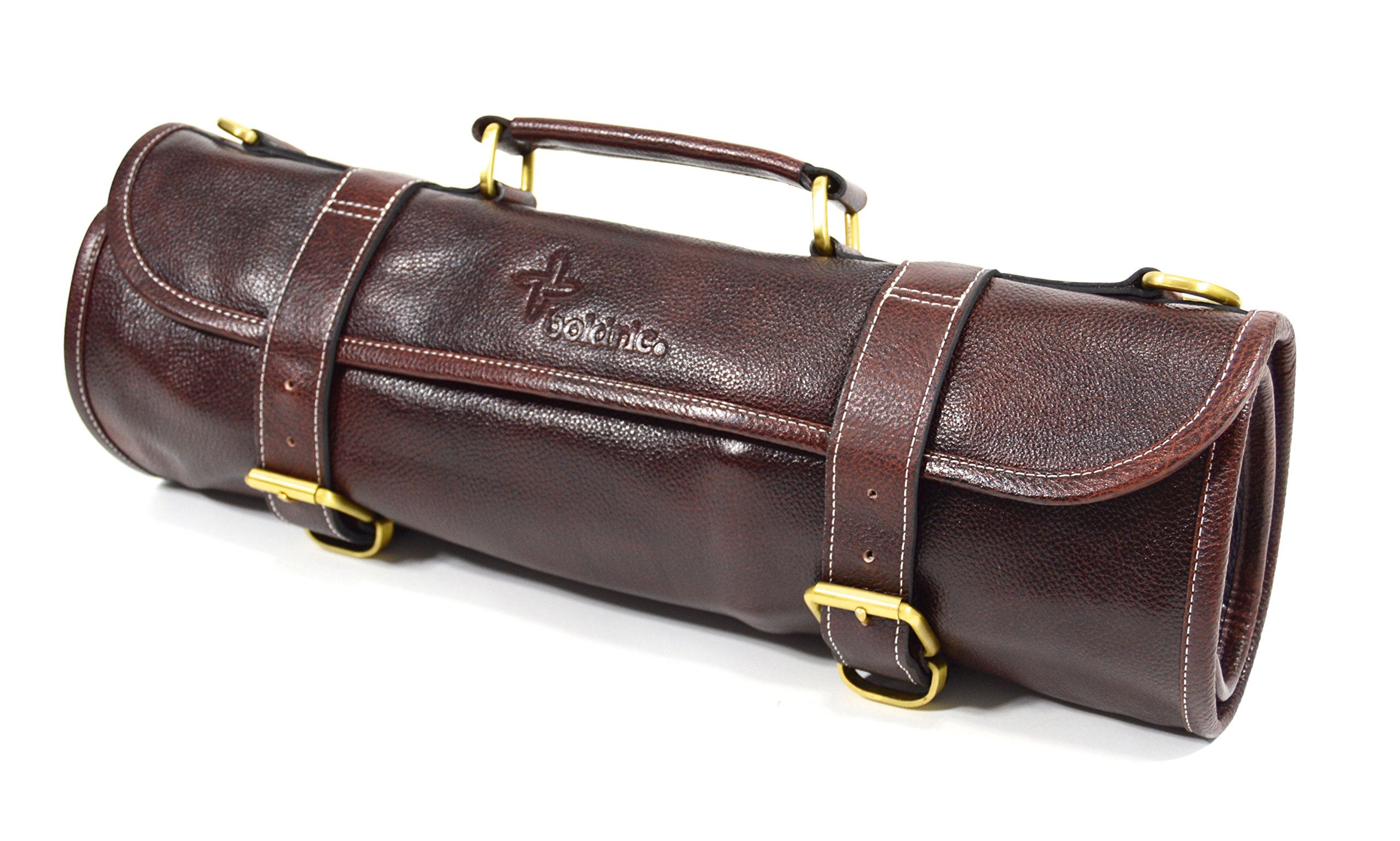 Boldric 9 Pocket Leather Chef Knife Roll Bag With Shoulder Strap – Professional Water Buffalo Hide Travel Carrier Case With Tool Organizer Slots For Knives Pens Pencils Spoons (Brown)