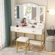 Tribesigns Vanity Table Set with Tri-Folding Lighted Mirror and Cushioned Stool, Makeup Table Dresser with 2 Drawers, Storage Shelves, 9 LED Lights, Dressing Table for Women Girls Bedroom, White Gold